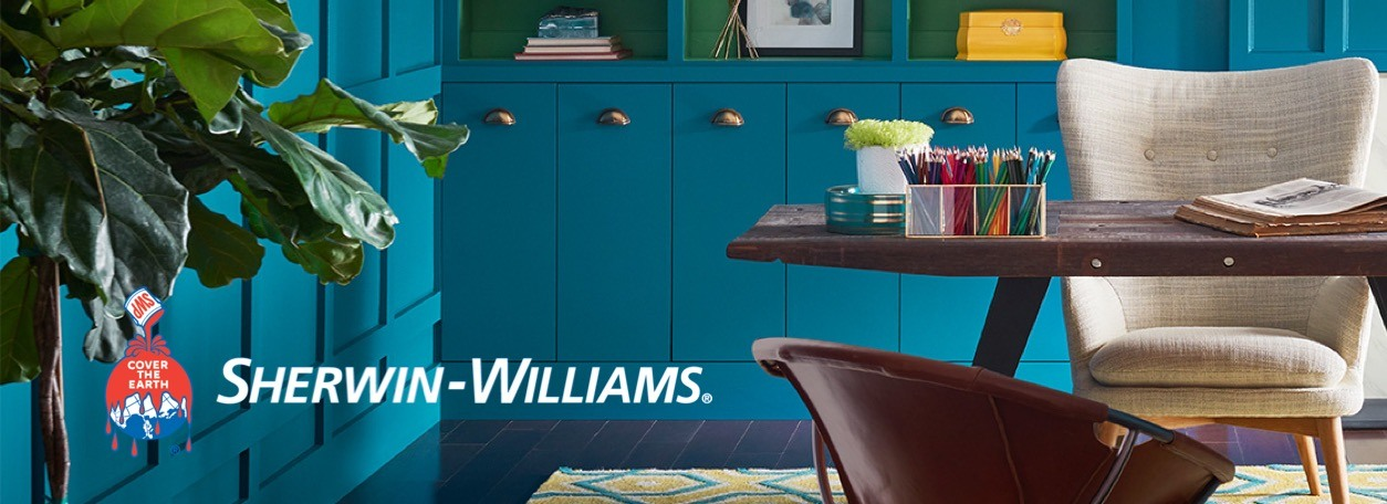 Blue-painted room with Sherwin-Williams logo